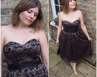 Lace prom dress / 80s prom dress / Strapless prom dress / Size 14 prom dress / Strapless dress / Vintage prom dress / 50s prom dress