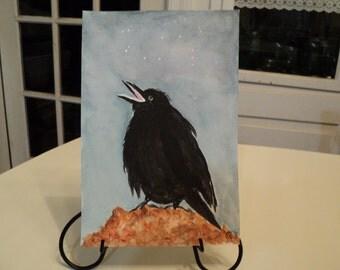 "Painting Original 6"" X 9"" Water Color Baby Crow, Sirius,Orion,Rigel,Betelgeuse"