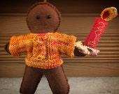 Felt gingerbread man, felt gingerbread decoration, Christmas decoration