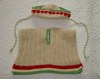 Crocheted Mexican Sombrero and poncho for baby, in sizes 0-3 and 3-6 mos - Ready to Ship