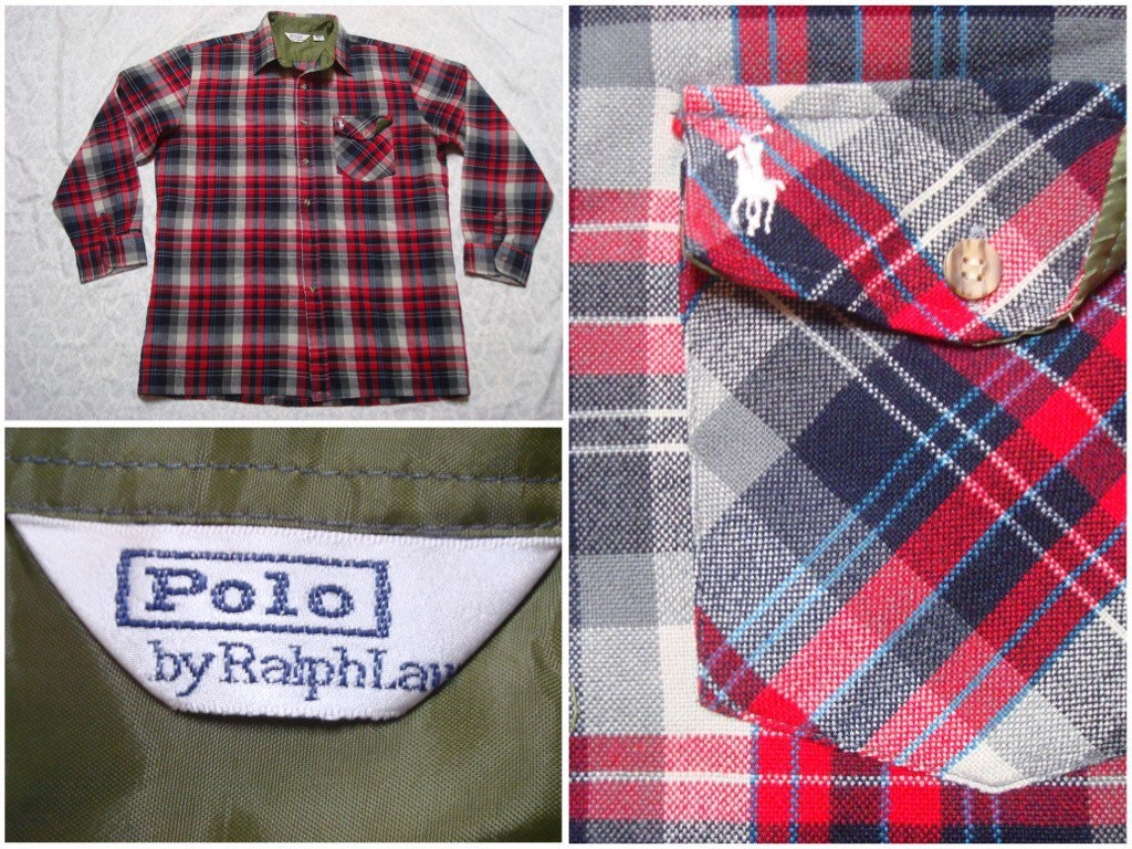 Polo shirt design editor - Vintage Retro Men S 80 S Polo Ralph Lauren Red Black White Plaid Wool Blend Buttonup Long Sleeve Large