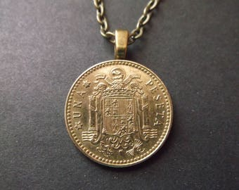 Spanish Gold Color Coin Necklace - Spanish Peseta Coat of Arms Coin Pendant with Bail and Chain