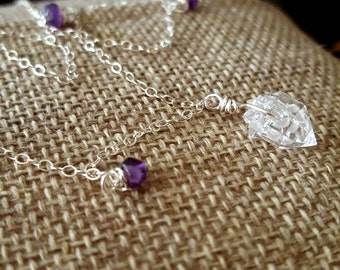 SageAine: Herkimer Diamond Amethyst Necklace, Sterling Silver, spiritual vision, soul guidance, detoxifier, Reiki Charged, Crystal Healing