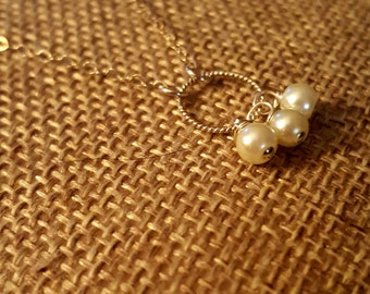 SageAine: Pearl Trinity Sterling Silver  Necklace, bridal, wedding, June Birthstone, Delicate