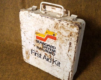 Seaboard System Railroad First Aid Kit - With Contents - White Metal First Aid Box