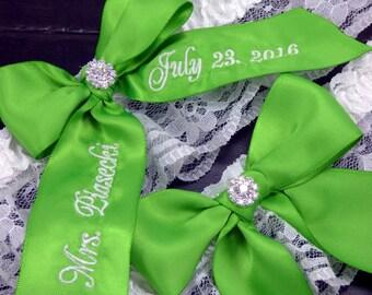 Apple Green Embroidered Wedding Garter, Bridal Garter, Personalized Garter, Custom Garter, Garter Set, Garters, Lace Garter, Toss Garter