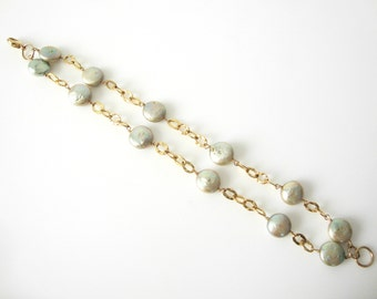 Double Freshwater Pearl Gold Filled Linked Bracelet