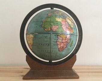 Tiny Antique World Globe with Walnut Base - Circa 1930