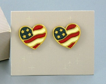 1990 Vintage AVON 'Heart of America' Pierced Earrings with Original Box. Patriotic Jewelry. Red White Blue Earrings. Vintage Avon Earrings