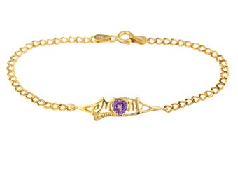 14Kt Yellow Gold Plated Alexandrite & Diamond Heart Mom Bracelet