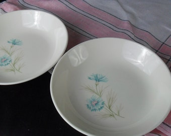Vintage Boutonniere Ever Yours Soup Coupe Bowls * Aqua Carnation * Blue Bachelor Button * Set of 2
