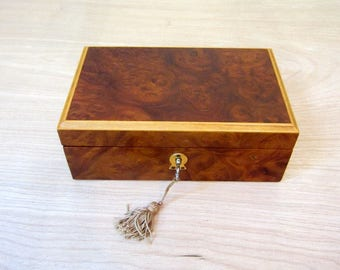 Burl Wood Jewelry Box with Key, Vintage Wooden Locking Ring & Jewel Trinket Box. Made In Italy.