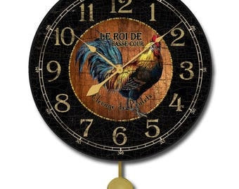 Black & Wood Rooster Pendulum Wall Clock