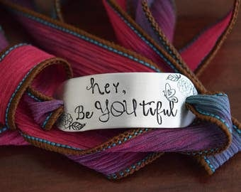 hey BeYOUtiful~Hand Stamped Ribbon Wrap Bracelet