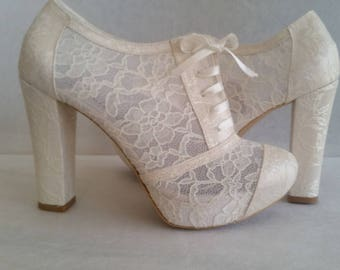 Wedding shoes, Bridal shoes, Bridesmaid shoes, Handmade GUIPURE Lace Weding shoes  as#4