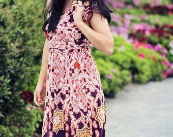 Cut out asian print dress Flutter sleeve,