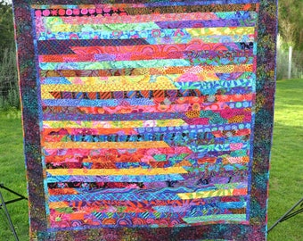 Modern Lap Quilt, Colorful Blanket, Quilted Throw, Jelly Roll Quilt, Kaffe Fassett