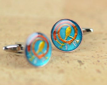 Ireland Cufflinks - Antique enamel coins