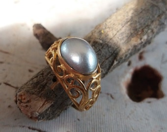 Vintage Filigree Pearl Ring 18K Gold Plated Ring