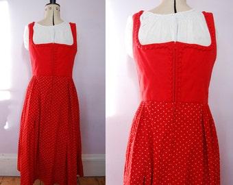 Vintage 50s Red Austrian Dirndl - Vintage Dirndl - 1960s Dirndl - 1950s Dirndl - Red Dirndl - Oktoberfest Dress