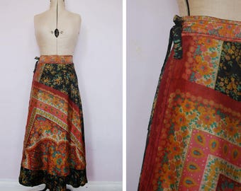 1970s Indian bohemian silk wrap skirt - Indian floral paisley silk skirt - 70 hippie skirt - Indian skirt - 70s boho skirt - festival skirt