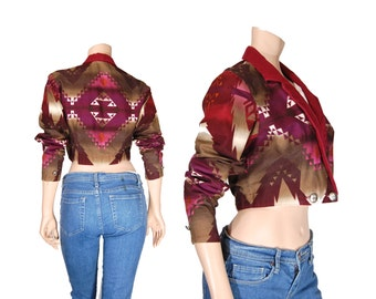 Small Rodeo Shirt // Maroon & Purple Cut Out Western Crop Top // A89