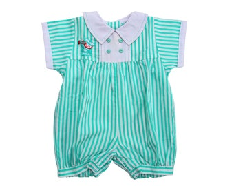 80s vintage cute green striped summer romper size 6 months