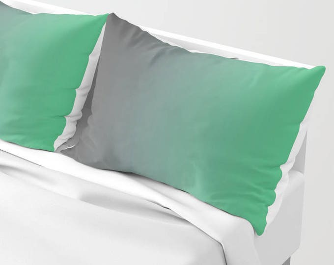 Pillowcases - Pillow Shams - Gray to Green Ombre - Original Art - Made to Order