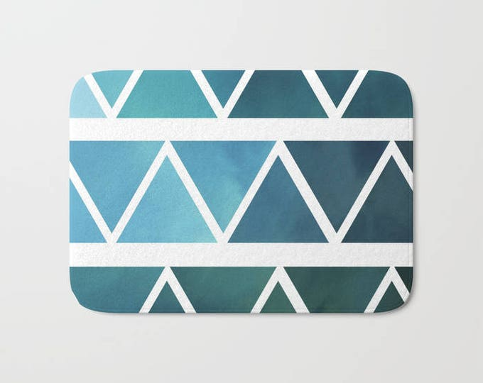 Blue Bath Mat - Modern Blue Ombre  Shower Bathroom Mat -  Made to Order