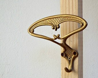 art nouveau coat HOOK - vintage unique TOWEL HANGER, unique towel rack supply, recycled hardware, metal brassware brass, recycled supplies