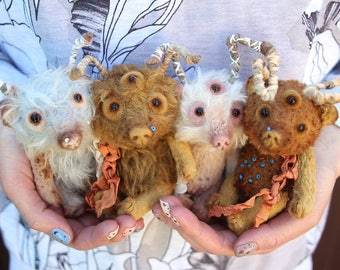 Your personal monsters. Mascot.  Artist teddy bear. woodsman. Ugly Cute. Halloween toy. For blythe.