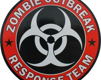 "Red & Black Zombie Outbreak Response Team Sticker 5"" x 5"""
