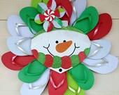 Beautiful Handmade Flip Flop Wreath Christmas Holiday Door Decor SNOWMAN