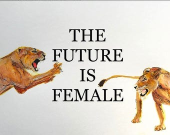 Watercolor & Ink 'The future is Female' Limited Edition Print