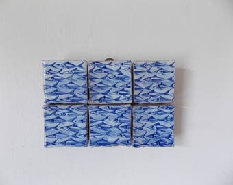Vintage Sicilian Fish Tile Blue and White Taormina Italian Ceramic Wall Decor