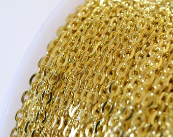 Gold Chain, Cable Chain, 3 mm x 2 mm - 10 ft (G32-001)