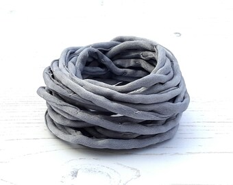 Silk Cord hand dyed 3 meters medium grey silk string 4mm
