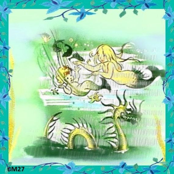 Vintage baby mermaid fabric block retro cotton print applique for Retro baby fabric