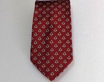 SALE Red Silver Geometric Silk Necktie Classic Business Wear Great Gift Idea