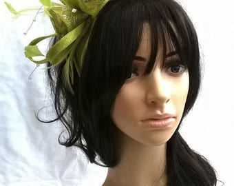 Stunning Lime green rosette Sinamay and  Feather Fascinator...with crystal stamens