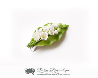 Hair Clip Lily of the valley - Polymer Clay Flowers