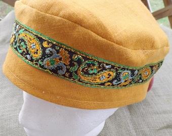 Harvest Gold 100% Linen Migba'ah Turban Cap with Matching Ribbon Trim