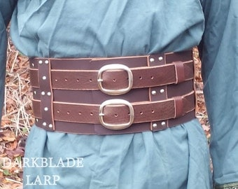 Wide Hero Belt in Heavy Leather for Larp, Cosplay, Steampunk or Warcraft Costume.