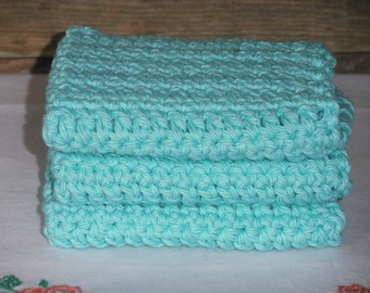 Crochet Dish Cloths, Crochet Dish Rags, Crochet Wash Cloths, 100% Cotton, Farmhouse Kitchen, Farmhouse Bath, Set of 3, Seabreeze Blue