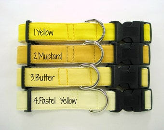 Yellow Dog Collar-Yellow Dog Collar,Mustard Dog Collar,Pastel Yellow Dog Collar,Light Yellow Dog Collar