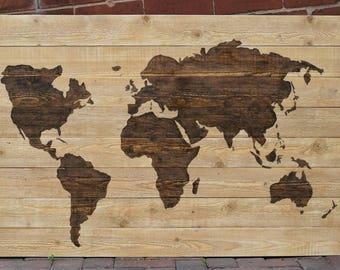 Wooden World Map Wall Art -60 x 80cm - Handmade Pallet Wall Art