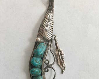 vintage sterling and turquoise southwestern pea pod pendant, signed