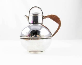 An 'E.P.C.A.' Silverplate Teapot - Made in England - Wicker Handle - Three Cup Teapot - Globe Shaped Teapot - Diffuser in Lid