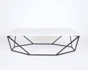 Modern Large Coffee Table in White Marble and Blackened Steel