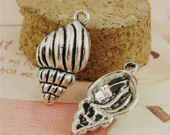 BULK  15pcs Conch Charms Antique Silver Alloy Shell Pendants Jewelry Findings charm Supplies
